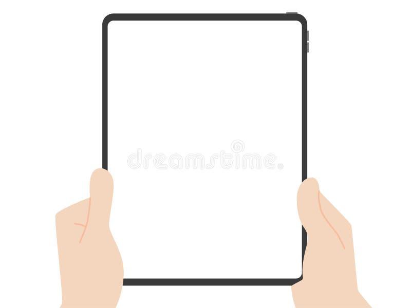 Задвижка руки и указать на технологию выдвижения дизайна нового сильного планшета новую иллюстрация вектора