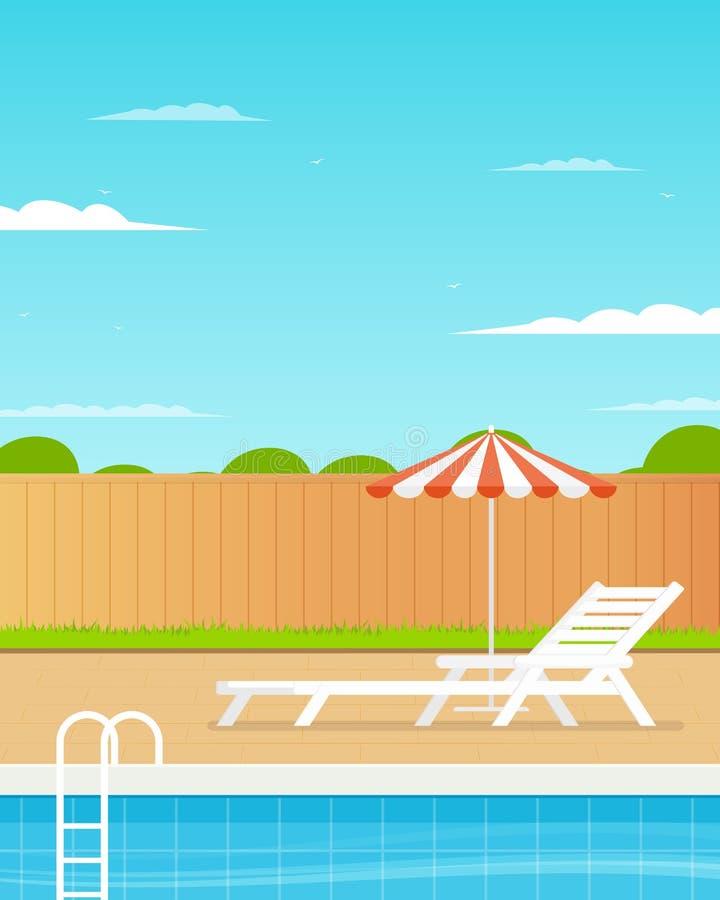 Задворк с бассейном иллюстрация вектора