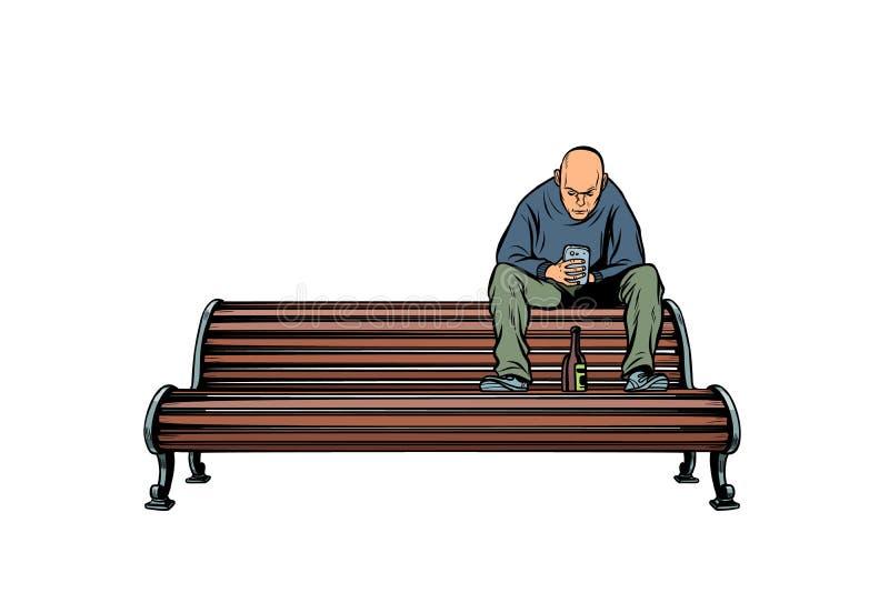 Задира скинхеда сидя на стенде с бутылкой иллюстрация штока