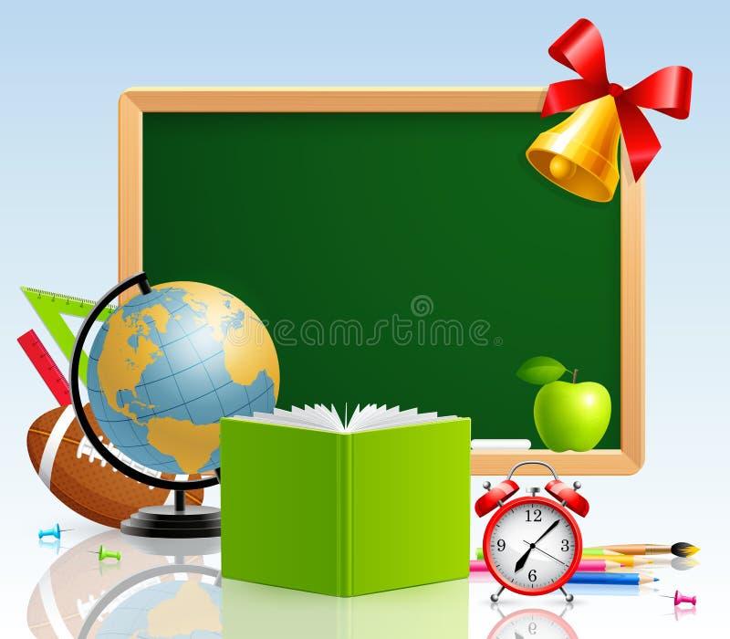 задние канцелярские принадлежности школы приветствию карточки к иллюстрация вектора