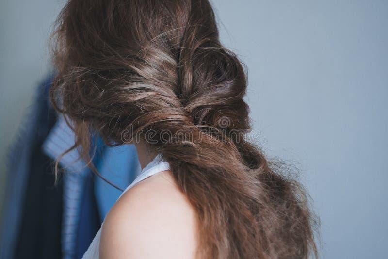 Задний взгляд женской головы с длинными коричневыми поврежденными волосами с крутыми grayish самыми интересными заплетенными в св стоковое фото rf