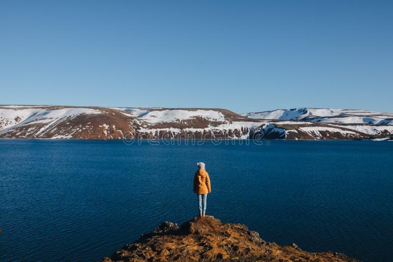 задний взгляд молодой женщины стоя на скалистом побережье и смотря величественный исландский ландшафт с заливом и покрытыми снег  стоковое изображение