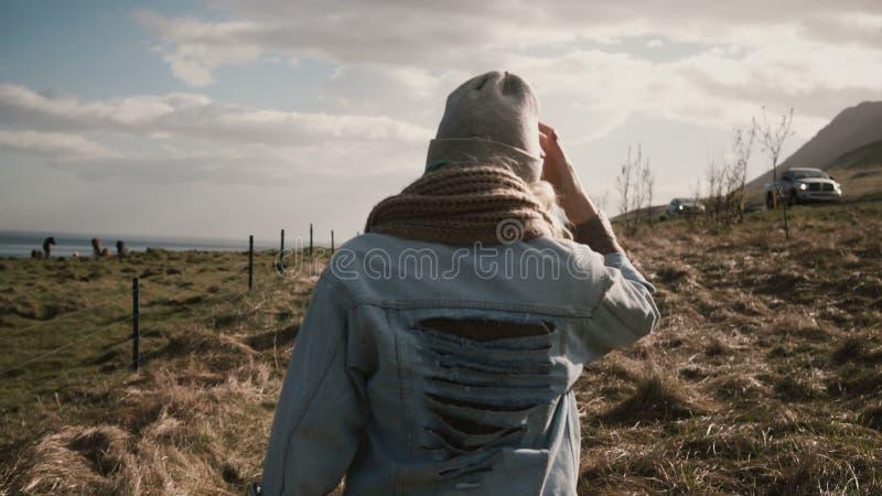 Задний взгляд молодой стильной женщины идя на природу, вне города через поле около лошадей обрабатывает землю стоковая фотография rf