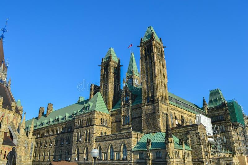 Задний взгляд разбивочного блока и мир возвышаются в холме парламента, Оттаве стоковые изображения