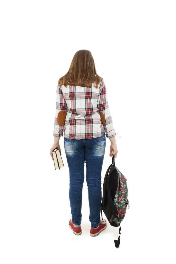 Задний взгляд студентки стоковое изображение rf