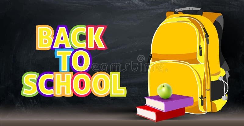 Задняя предпосылка на теме школы с рюкзаком, яблоко, книги бесплатная иллюстрация