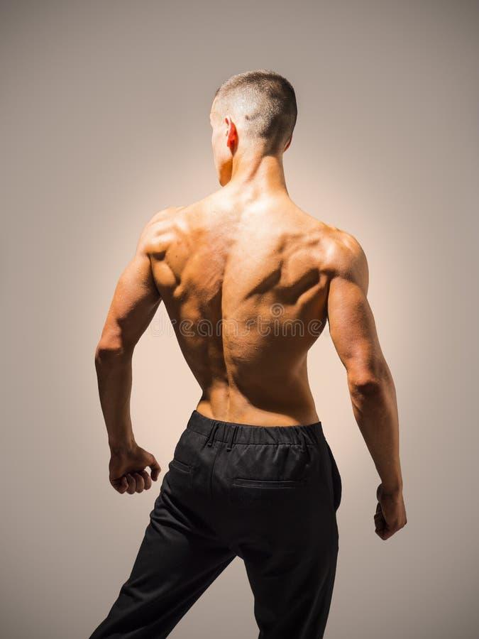 Задняя часть непознаваемого атлетического молодого человека в студии стоковое фото