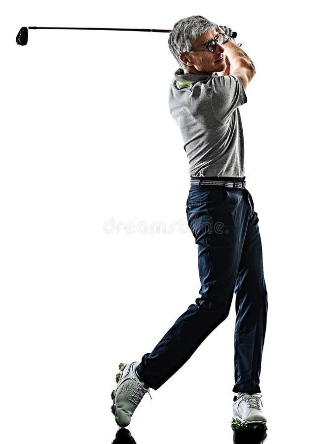 Задняя часть тени игрока в гольф старшего человека играя в гольф изолированная силуэтом белая стоковые изображения rf