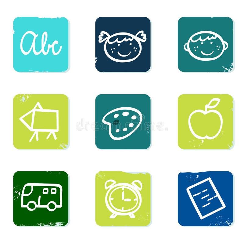 задняя школа икон элементов doodle установленная к иллюстрация штока