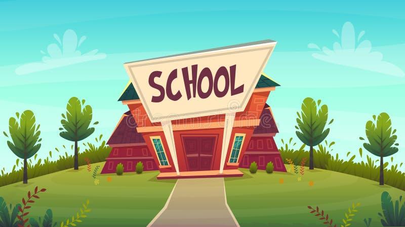 задняя школа иллюстрации к строя стиль мультфильма fasade образования улицы смешной счастливый также вектор иллюстрации притяжки  иллюстрация вектора