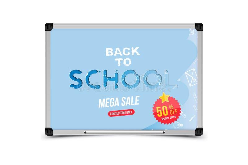 задняя школа, котор нужно приветствовать Знамя с комплектом значков doodle и продажи 50 и стикера концепция для образования Иллюс бесплатная иллюстрация