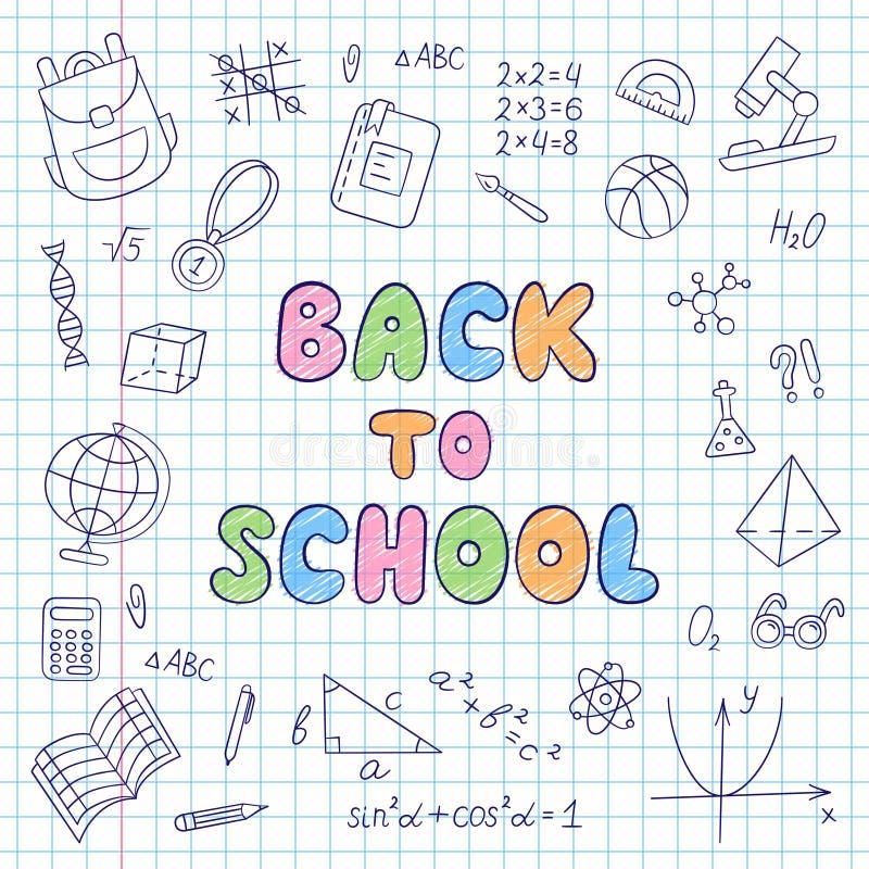задняя школа к литерность Тетрадь в клетке Комплект элементов школы в стиле doodle и шаржа иллюстрация штока