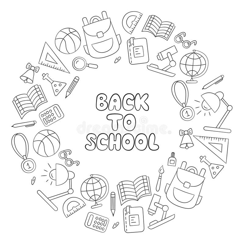задняя школа к первое -го сентябрь День знания литерность линейно черная белизна иллюстрация штока