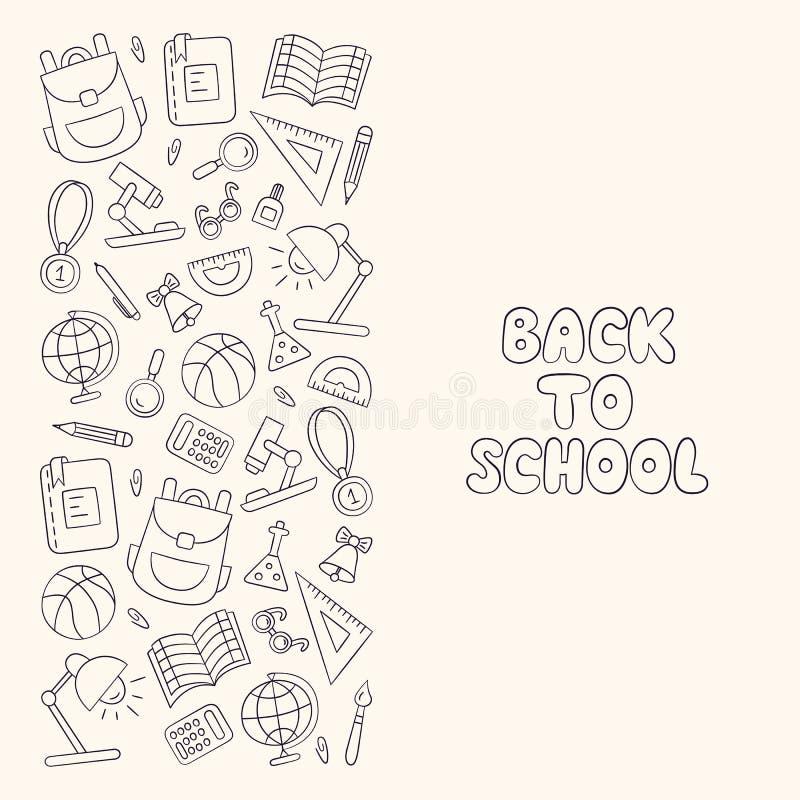 задняя школа к первое -го сентябрь День знания литерность линейно иллюстрация штока