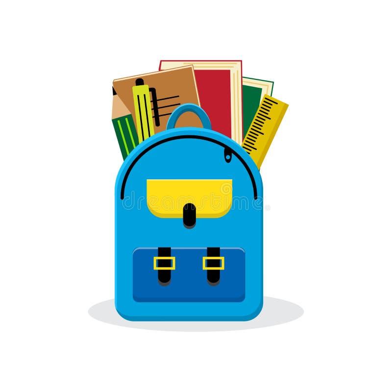 задняя школа к Рюкзак с школьными принадлежностями также вектор иллюстрации притяжки corel иллюстрация штока