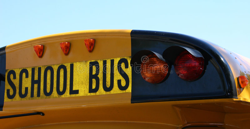 задняя школа шины стоковое фото rf
