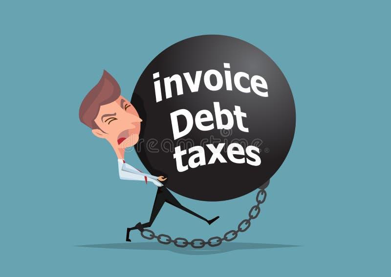 Задолженность ноги цепи бизнесмена связанные, invioce и бизнесмен концепции налогов держа каменный иллюстратор шарика бесплатная иллюстрация