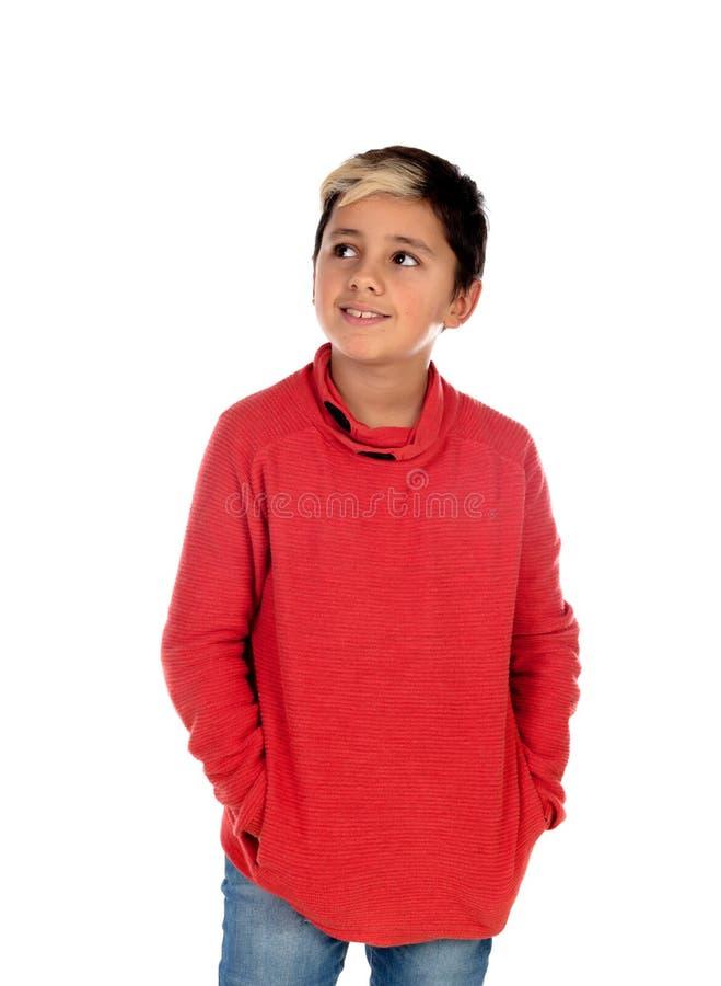 Задумчивый ребенок с 10 летами и фитиль на его волосах стоковые изображения