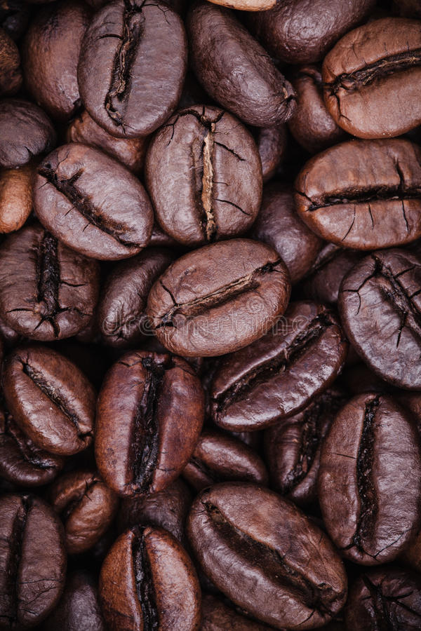 Зажаренная в духовке концепция предпосылки кофейных зерен Закройте вверх по зернам от кофе взгляд сверху, вертикальное фото стоковое фото