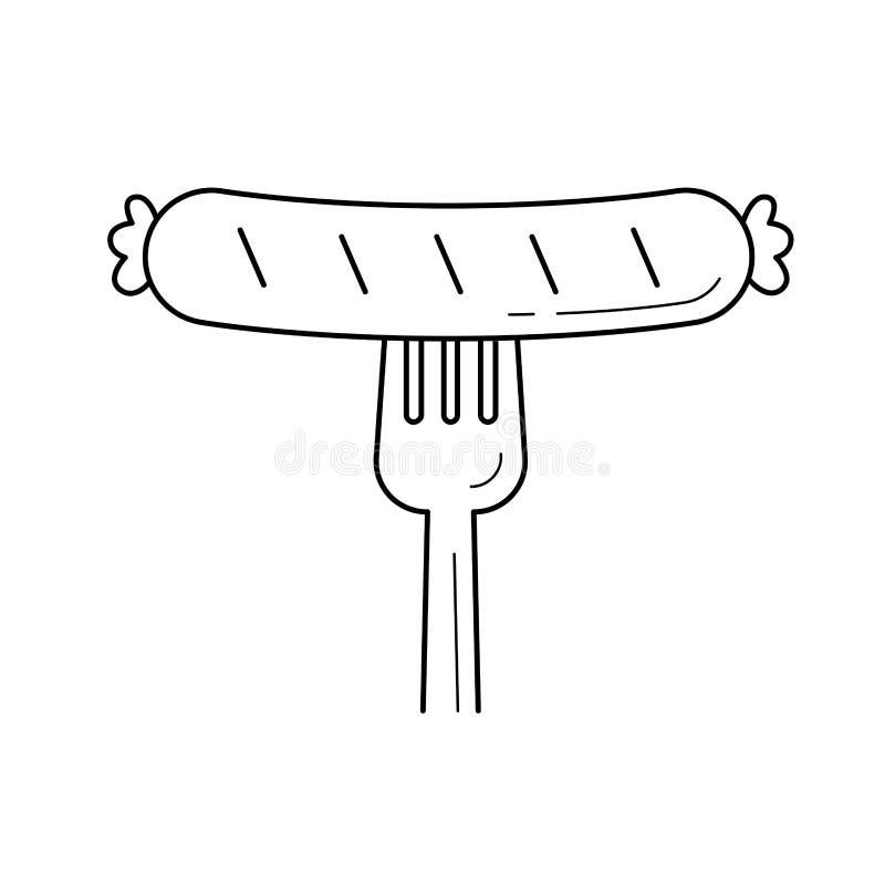 Зажаренная сосиска на линии значке вектора вилки иллюстрация вектора