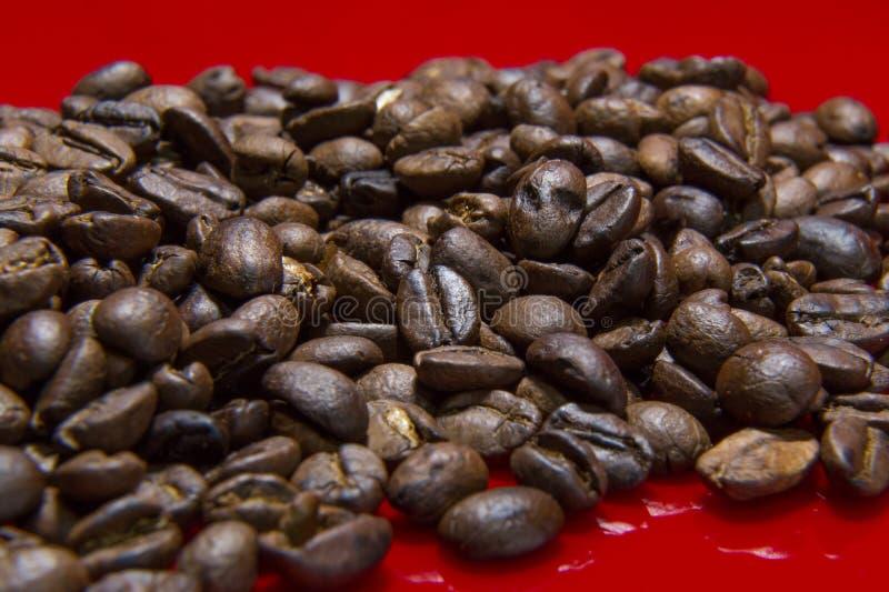 Зажаренное в духовке конца макроса предпосылки кофейных зерен изображение красного поднимающее вверх для cof стоковые изображения rf