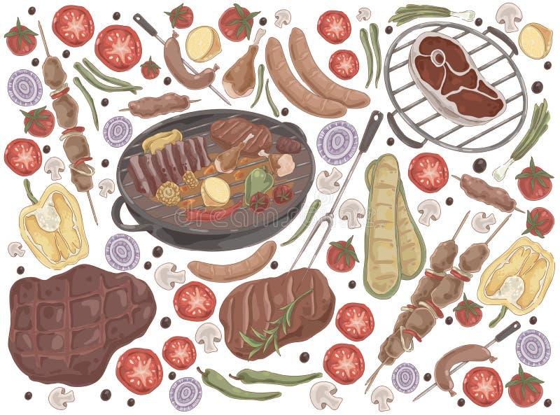 Зажаренное в духовке мясо с овощами, зажаренный стейк, shashlik, куриные ножки, сваренные нервюры, зажаренные сосиски, вкусный на бесплатная иллюстрация