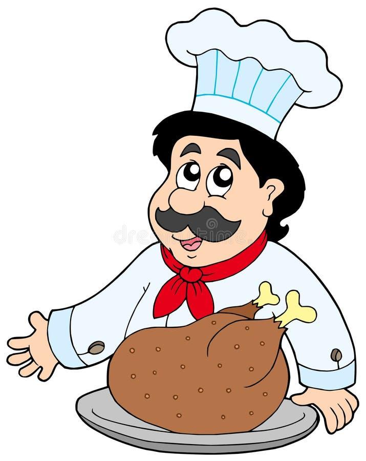 зажаренное в духовке мясо шеф-повара шаржа иллюстрация вектора