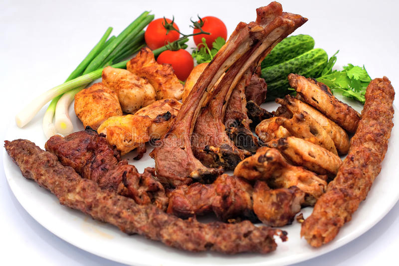 Зажаренное мясо, сортированное барбекю, стоковые изображения rf