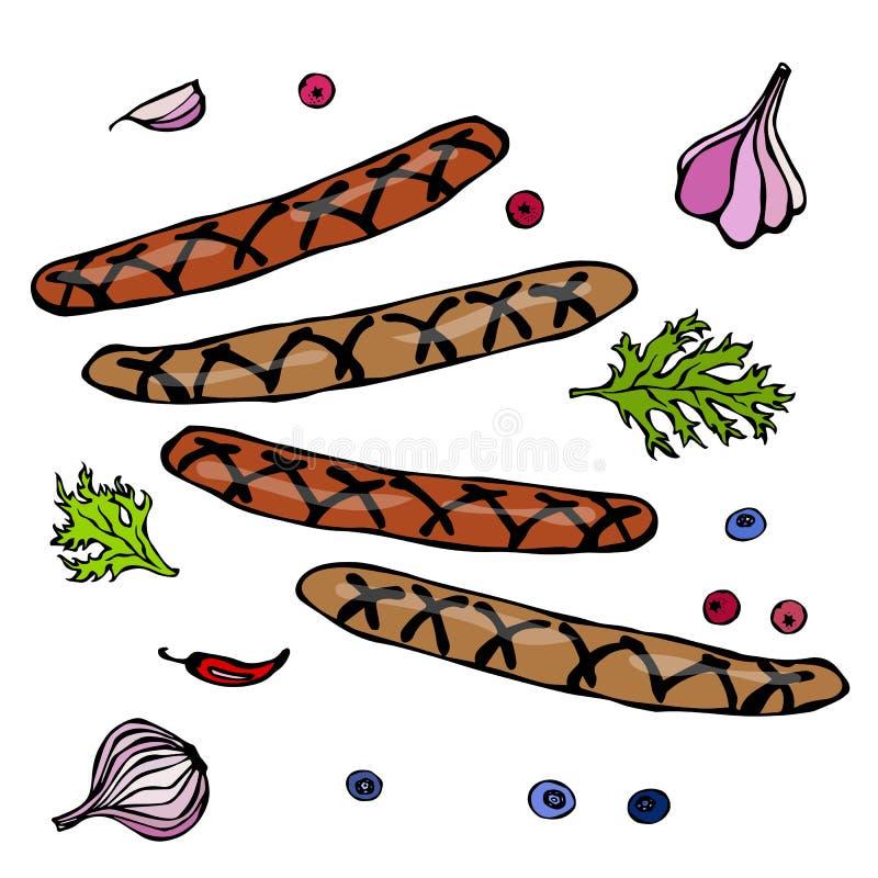 Зажаренные баварские или американские сосиски с перцем Chili, луком, чесноком, петрушкой и ягодами Эскиз стиля Doodle Illustrat в иллюстрация вектора