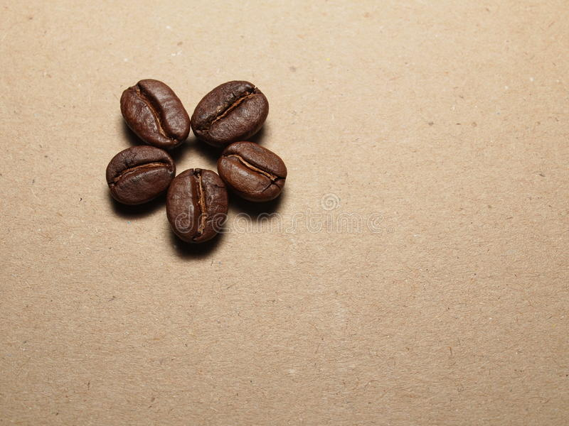 Зажаренные в духовке кофейные зерна на бумажной текстуре стоковые изображения