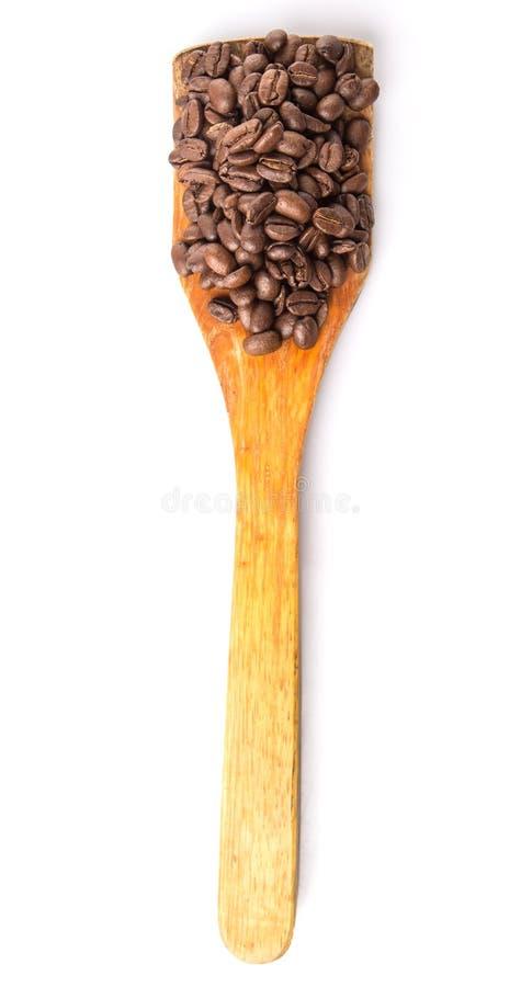 Зажаренные в духовке кофейные зерна на деревянном шпателе VI стоковая фотография rf