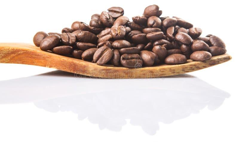 Зажаренные в духовке кофейные зерна на деревянном шпателе VIII стоковая фотография rf