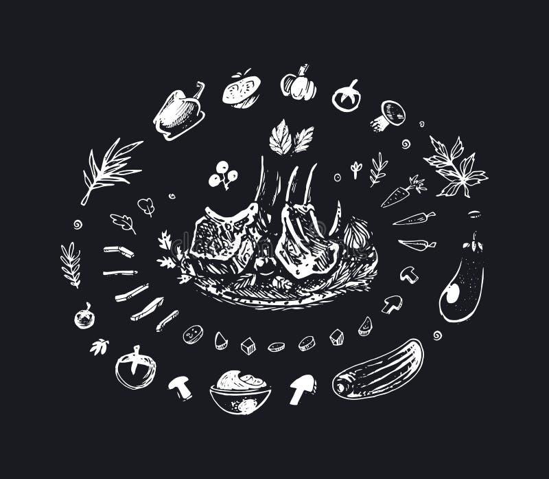 Зажаренные нервюры свинины белят чертеж мелом мир вектора искусства светлый иллюстрация штока