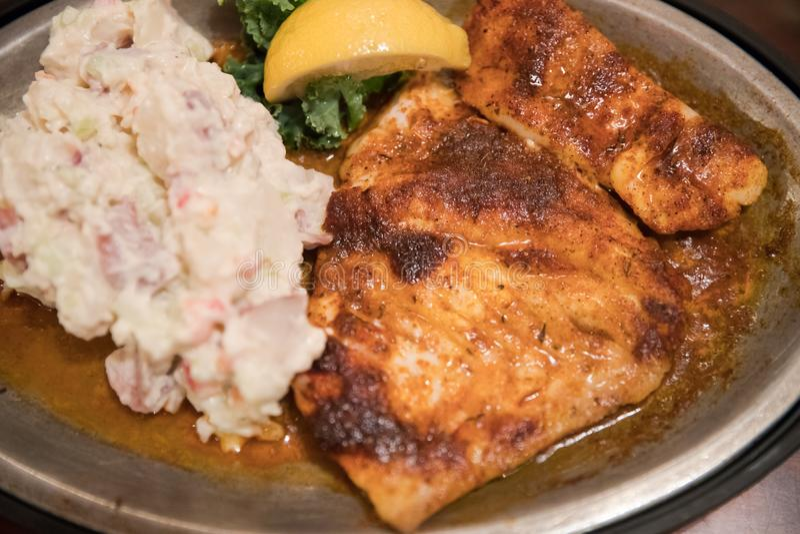 Зажаренные рыбы с lemony салатом картофельного пюре стоковая фотография