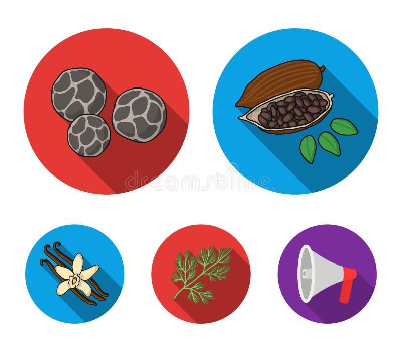 Зажаренные фасоли какао, укроп, черный перец, ваниль Травы и специи установили значки собрания в плоском запасе символа вектора с иллюстрация вектора