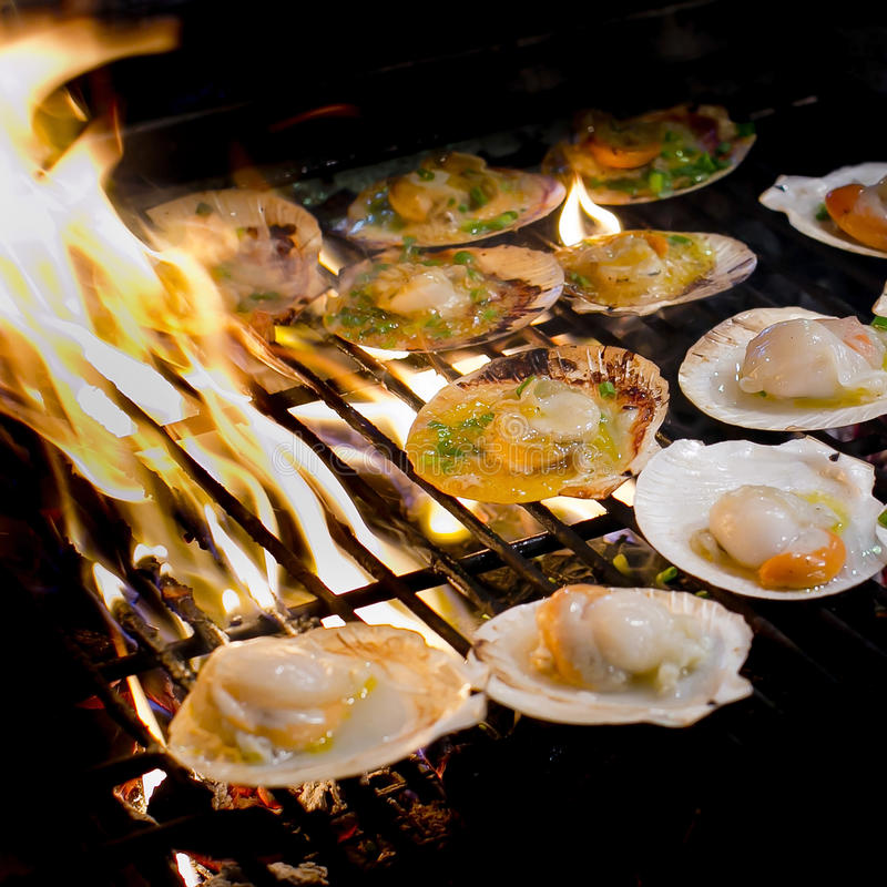 Зажаренные scallops покрыли с маслом, чесноком и петрушкой на flami стоковое изображение rf