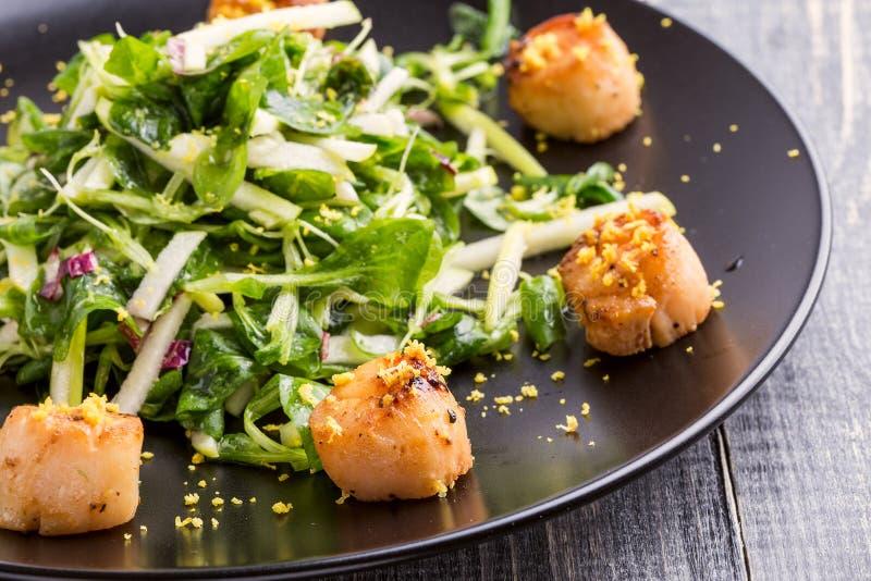 Зажаренные scallops с кудрявым зеленым салатом стоковые изображения rf