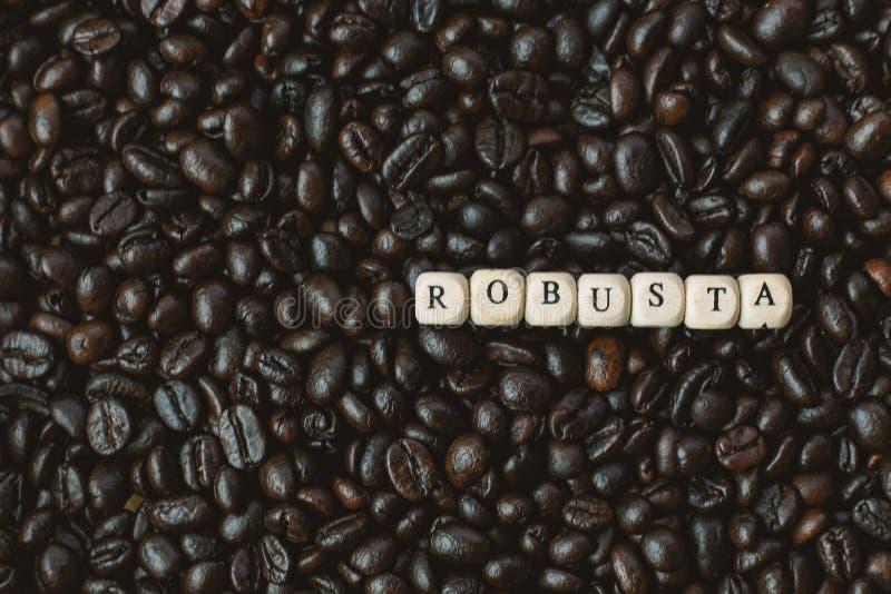 Зажаренный в духовке кофе и конец куба текста деревянный вверх по изображению стоковые фотографии rf