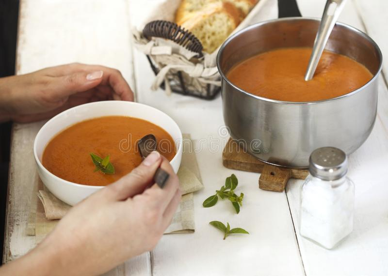 Зажаренный в духовке суп сливк овоща Суп томата стоковые изображения