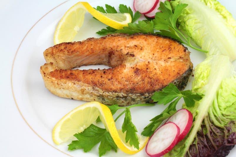 зажаренный в духовке salmon стейк стоковое фото