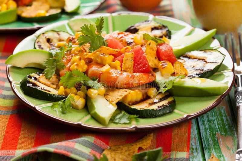 Зажаренный мексиканцем салат креветки стоковое фото rf