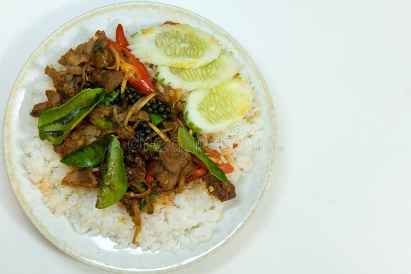 Зажаренный пряный изолированный стиль еды Таиланда картины хряка, стоковое фото rf