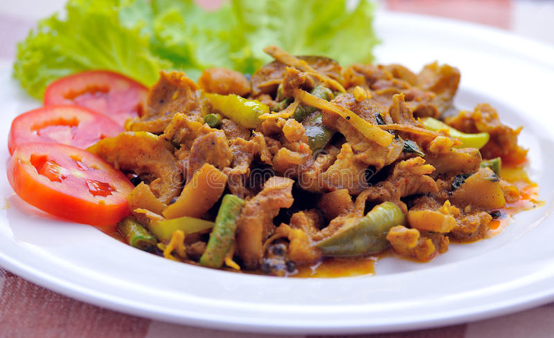 Зажаренный свинина с затиром chili, тайской едой. стоковое изображение rf
