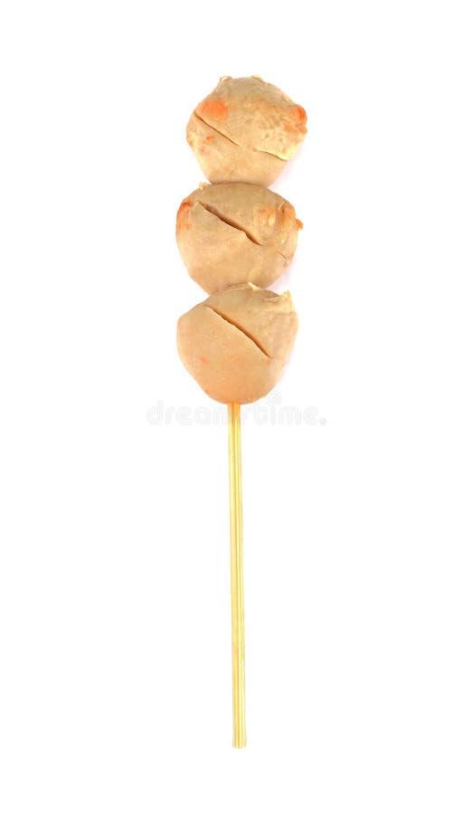 Зажаренный шарик свинины на белой предпосылке ручка isol шарика мяса стоковые фотографии rf