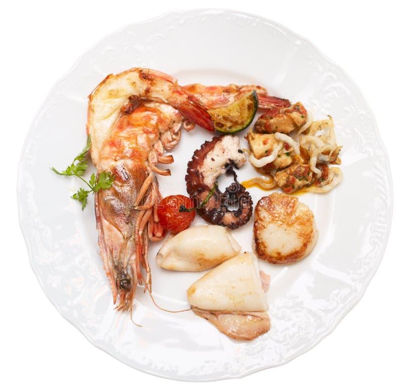 зажженные изолированные продукты моря плиты стоковые изображения
