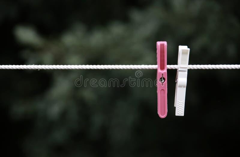 Зажимка для белья на линии шнура стоковые изображения rf