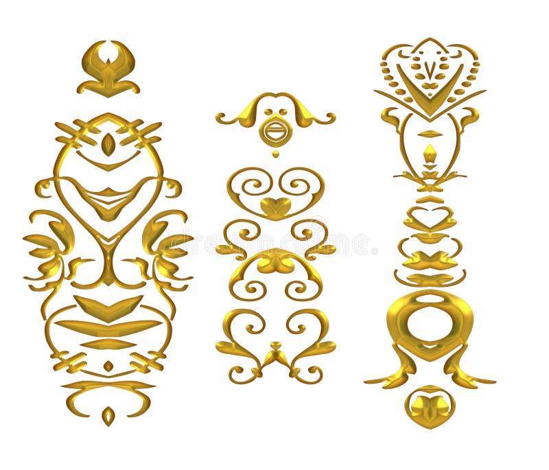 зажим искусства процветает золото глянцеватое иллюстрация вектора