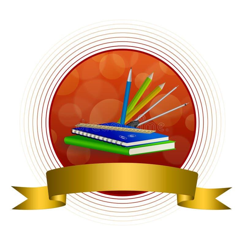 Зажим карандаша ручки правителя тетради абстрактной книги зеленого цвета школы предпосылки голубой compasses красная лента рамки  иллюстрация вектора