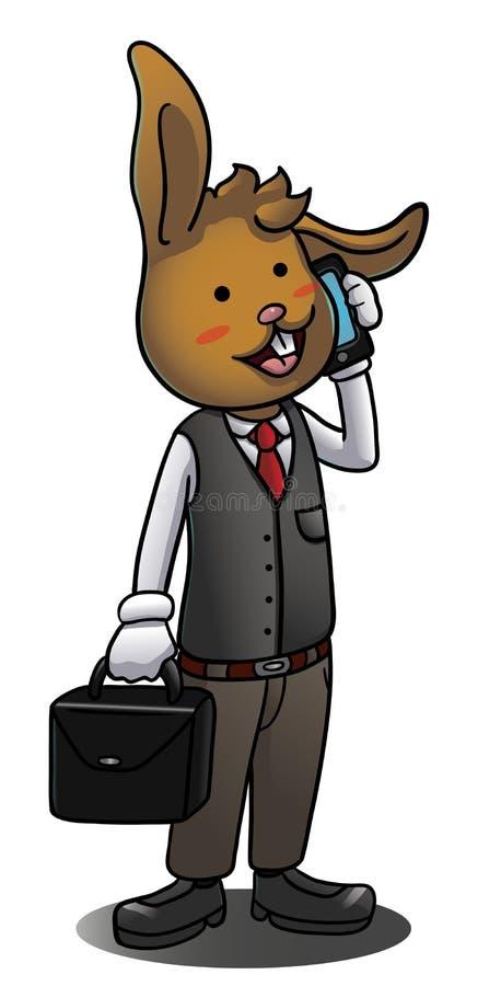 Зайчик бизнесмена говоря на smartphone иллюстрация вектора
