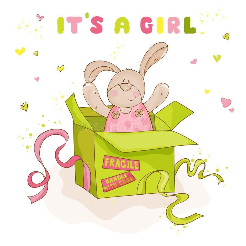 Зайчик в коробке - карточка младенца младенца иллюстрация штока